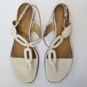 Valentino Garavani White Leather Flat Sandals 41